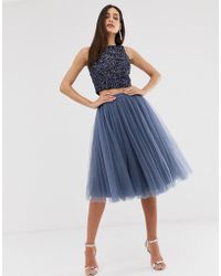 Little Mistress Tulle Midi Prom Skirt In Lavender Gray