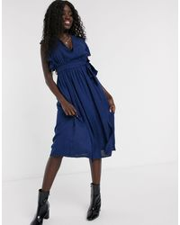 Glamorous Skater Dress With Flutter Sleeve - Blue