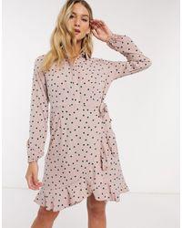 Vero Moda Shirt Dress With Wrap Detail - Pink
