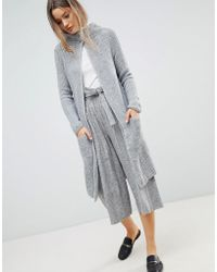Zibi London Longline Cardigan With Front Pockets - Gray