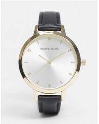Brave Soul Gray Faux Leather Watch - Black