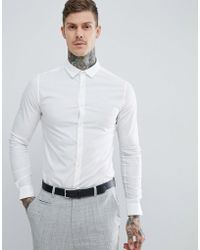 ASOS - Skinny Shirt In White With Long Sleeves - Lyst