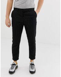 Bershka - Slim Cropped Trousers With Pinstripe In Black - Lyst