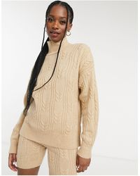 ASOS Mix & Match Lounge Knitted Cable Knit Jumper - Natural