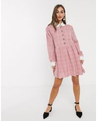 Sister Jane Mini Smock Dress With Ornate Buttons In Light Grid Check - Pink