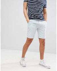 Solid - Slim Fit Chino Short In Light Blue - Lyst