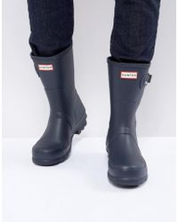 HUNTER Original Short Wellies In Blue - Black
