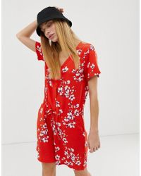 B.Young Printed Playsuit - Red