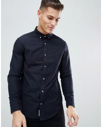 Original Penguin - Slim Fit Button Down Collar Oxford Shirt With Tonal Logo In Navy - Lyst