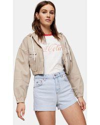 TOPSHOP Premium Denim Mom Shorts - Blue