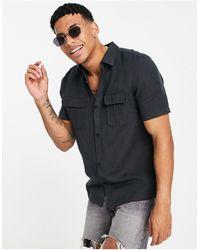 River Island Черная Льняная Рубашка В Утилитарном Стиле С Короткими Рукавами -черный Цвет