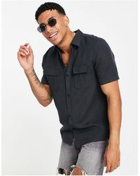 River Island Camisa negra utilitaria - Negro