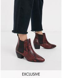 Oasis Stacked Heel Boots - Red