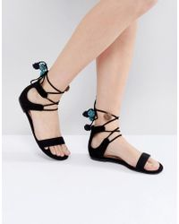Call It Spring - Mckeague Lace Up Pom Pom Sandals - Lyst