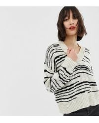 Mango Striped Oversized V Neck Sweater In Black And White