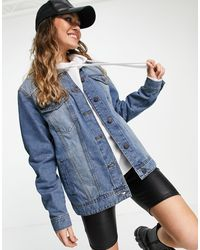 Noisy May Giacca di jeans oversize lavaggio blu medio
