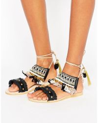 Hudson Jeans - Bahamas Pom Pom Charm Flat Sandals - Lyst