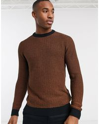 SELECTED Crew Neck Textured Knitted Sweater - Brown