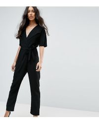ASOS - Asos Design Tall Wrap Jumpsuit With Self Belt - Lyst