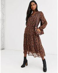 Ichi Horse Print Oversized Dress-multi - Brown