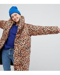 Monki Leopard Print Padded Oversized Coat - Multicolor