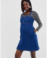 GeBe Maternity Denim Pinny Dress - Blue