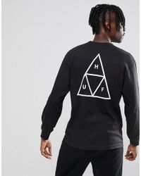 Huf - Triple Triangle Long Sleeve T-shirt In Black - Lyst