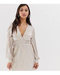TFNC London Long Sleeve Mini Pleated Foiled Dress - Metallic