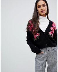 ASOS - Floral Cropped Cardigan - Lyst