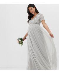fb9fddc17 Vestido largo de tul de dama de honor con escote Bardot en gris pastel con  lentejuelas delicadas a tono