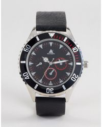 ASOS - Watch In Black With Contrast Bezel And Red Highlights - Lyst