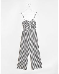 Bershka Ruched Front Striped Jumpsuit - Multicolor
