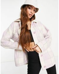 Hollister Лавандовая Куртка-рубашка В Шотландскую Клетку -фиолетовый Цвет - Многоцветный