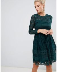 ASOS - Premium Lace Mini Skater Dress With Long Sleeves - Lyst