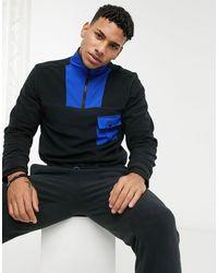 Another Influence Fleece High Neck Quarter Zip With Mixed Panels - Black