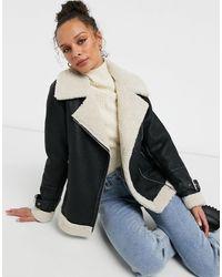 New Look Faux Fur Lined Contrast Aviator Jacket - Black