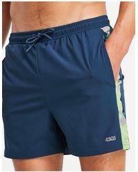 ASOS 4505 Gym to Swim - Pantaloncini da bagno con righe e stampa militare - Nero