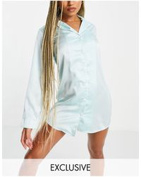 Missguided Satin Nightdress With Piping - Blue