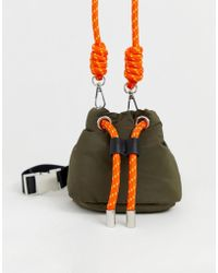 Pull&Bear - Nylon Bucket Bag With Rope Tie In Green - Lyst