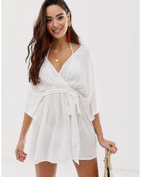 ASOS – Tief ausgeschnittener, weißer Strandkimono