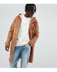 The New County Longline Coat In Faux Shearling - Brown