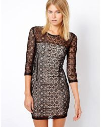 Mango - Lace Bodycon Dress - Lyst