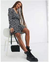 Miss Selfridge Mini Wrap Dress - Black