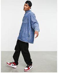 ASOS Джинсовая Рубашка В Стиле Extreme Oversized С Эффектом Кислотной Стирки - Синий