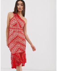 8c58365a7a1a Love Triangle Lace Bardot Midi Dress With Peplum Hem in White - Lyst