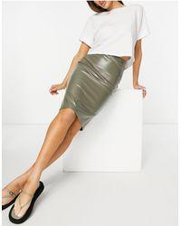 ASOS Leather Look Midi Pencil Skirt - Green