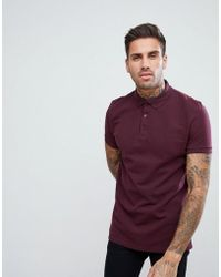 ASOS - Pique Polo With Button Down Collar In Red - Lyst