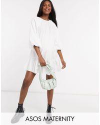 ASOS Vestido corto y amplio blanco
