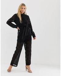 Religion Sheer Jumpsuit In Broderie Anglaise - Black