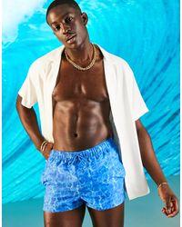 ASOS Swim Shorts With Water Print - Blue
